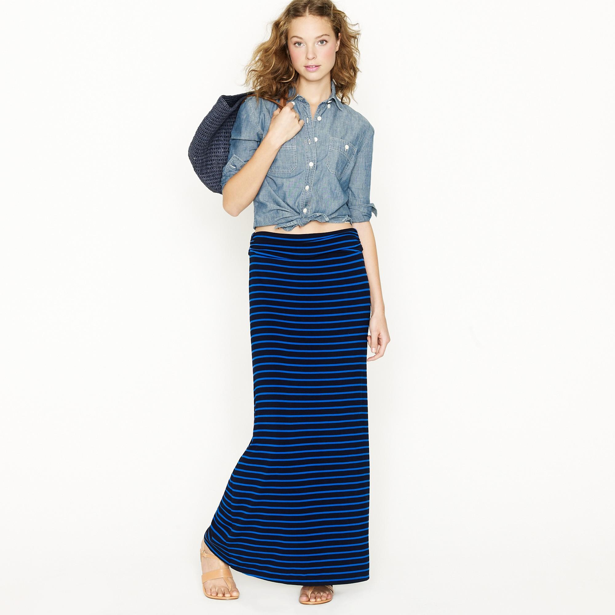 J.crew Jersey Maxiskirt in Stripe in Blue | Lyst