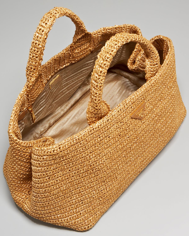 discount prada handbags - Prada Raffia Tricot Tote in Black (nero) | Lyst