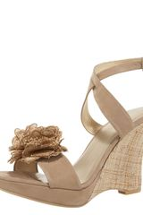 Stuart Weitzman Nubuck & Straw Flower Wedge