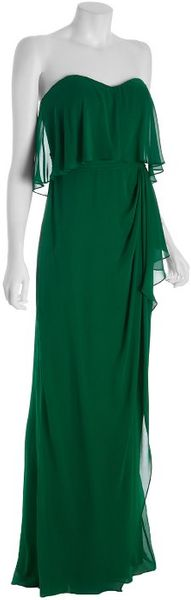 Badgley Mischka Emerald Tiered Silk Strapless Gown in Green (emerald) - Lyst