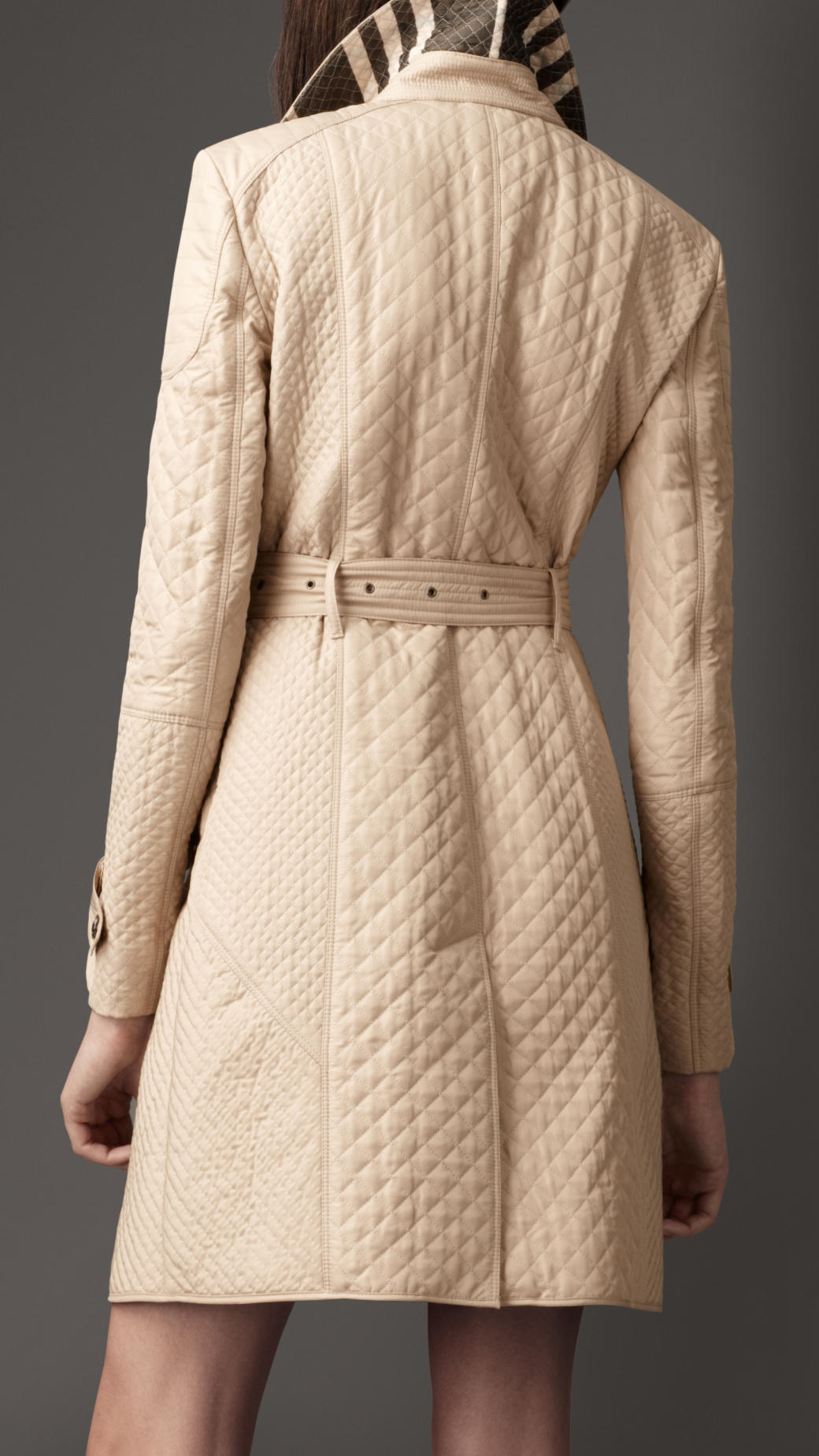 Lyst Burberry Quilted Taffeta Trench Coat In Natural