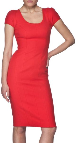 Narciso Rodriguez Cap Sleeve Dress in Red