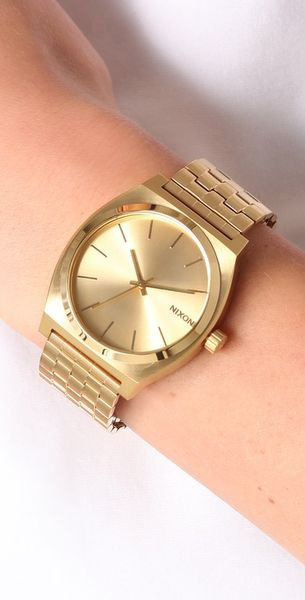 nixon oversized time teller all gold in gold lyst