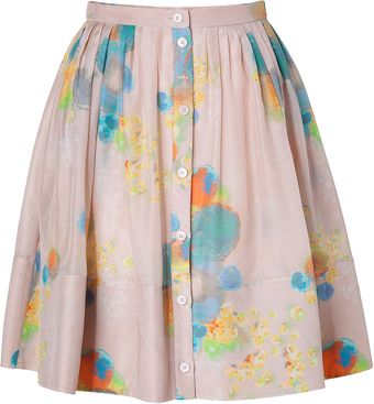 Cacharel Powder Pleated Silk Skirt - Lyst