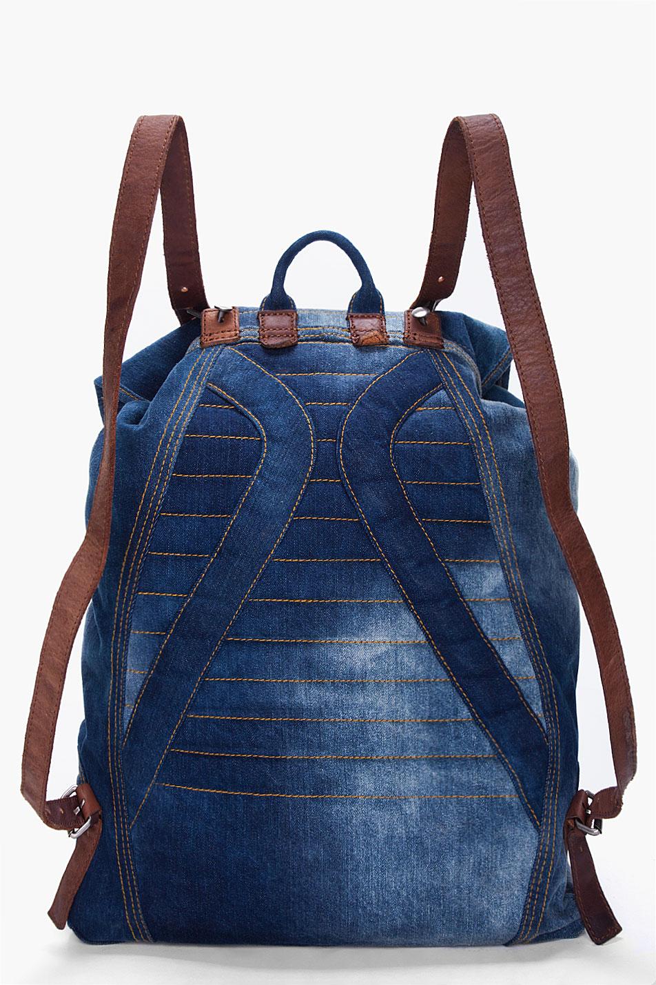 Diesel Indigo Denim Backpack In Blue For Men Lyst