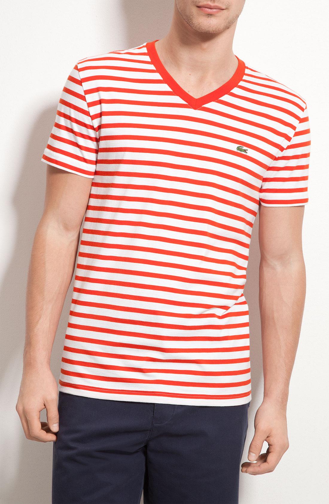 lacoste stripe v neck t shirt in white for men agave red. Black Bedroom Furniture Sets. Home Design Ideas