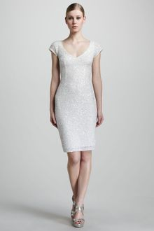 Theia Cap-sleeve Beaded Dress - Lyst