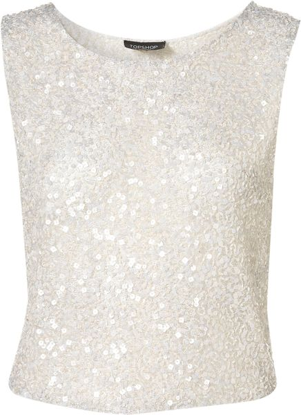 Topshop Premium Sequin Shell Top in White - Lyst