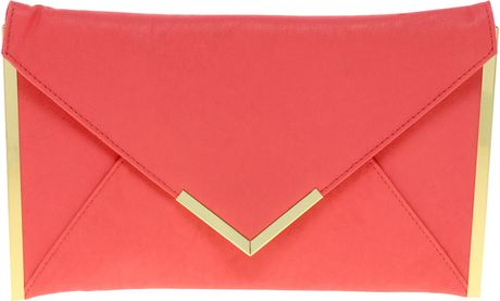 Asos Metal Bar Detail Envelope Clutch in Pink (rosepink) - Lyst