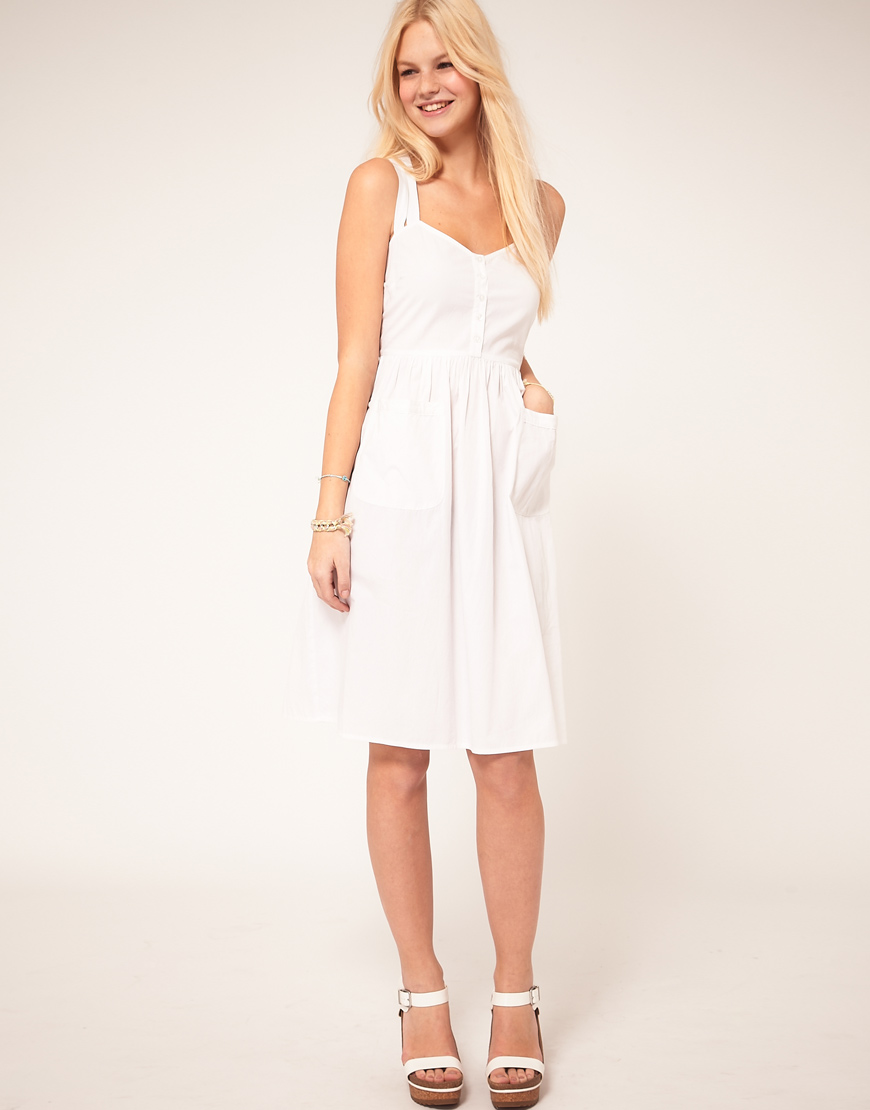Asos Midi Summer Dress With Pockets in White - Lyst