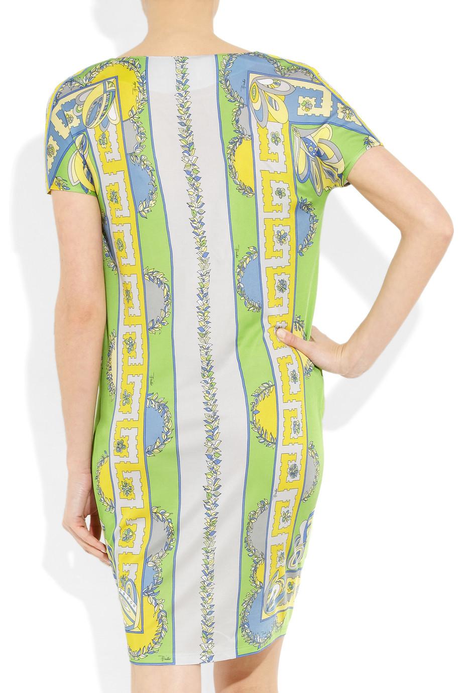 Emilio Pucci Printed Jersey Dress In Green Multicolored