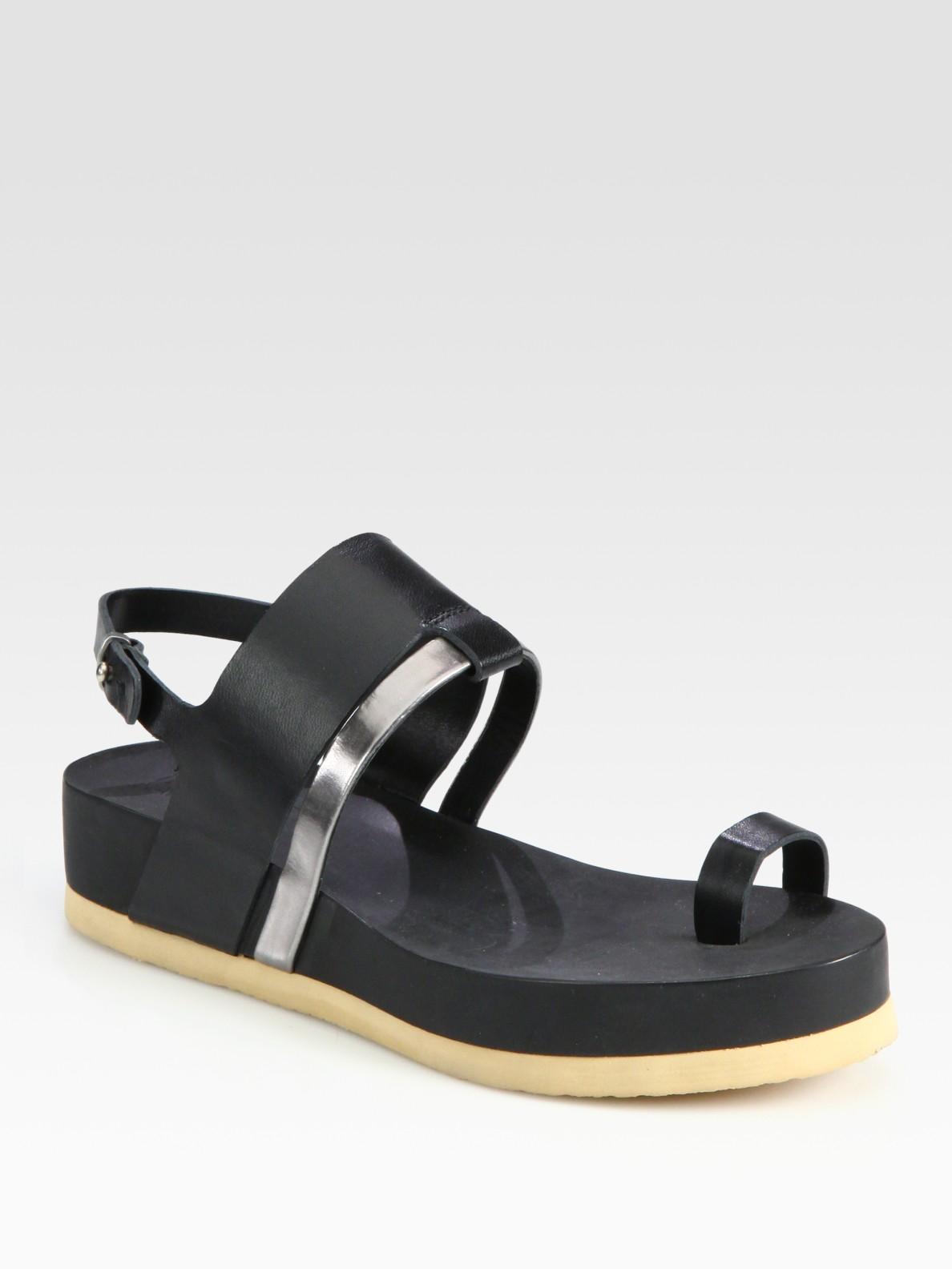 e821fb3f3c0a Lyst - Jil Sander Navy Leather Slingback Platform Sandals in Black