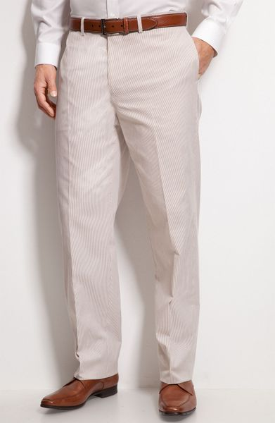 Nordstrom® Flat Front Pinstripe Trousers in Khaki for Men (khaki ...