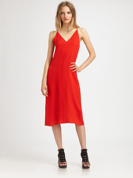 T By Alexander Wang Silk Vback Dress in Red (charcoal)