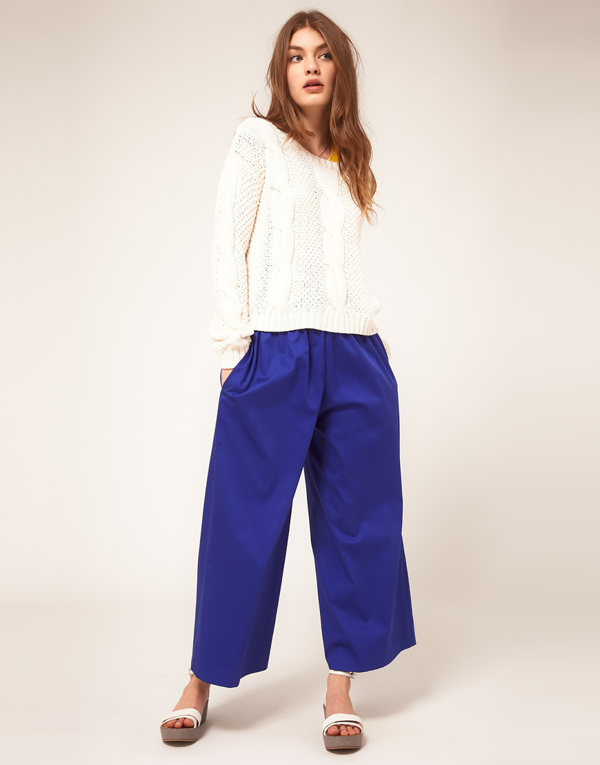 Asos collection Asos Wide Leg Crop Trouser with Elastic Waistband ...