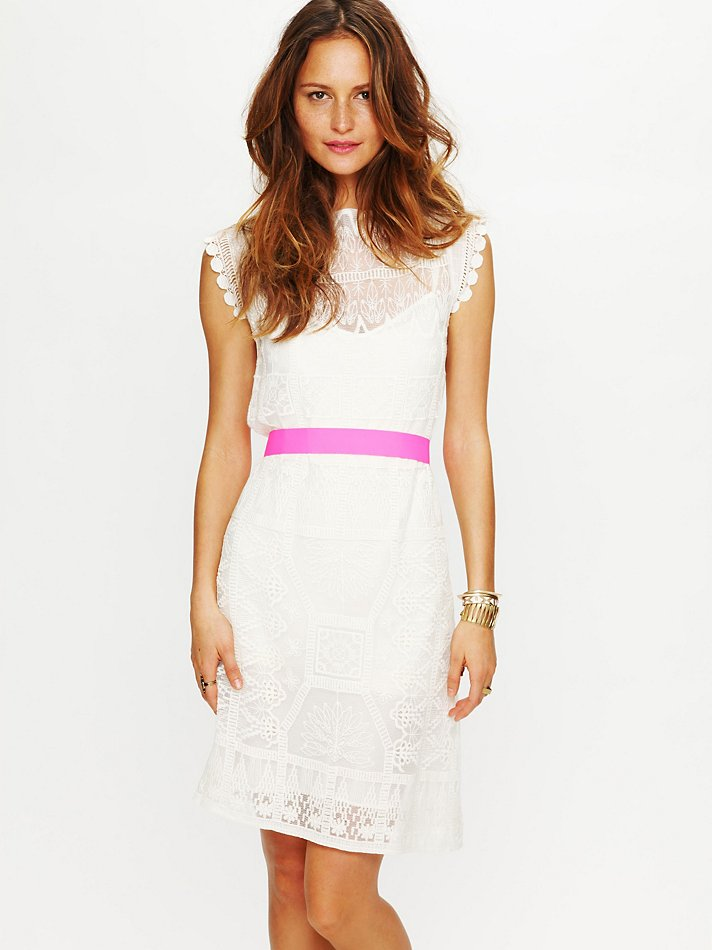 Free People Satya Short Lace Dress In White Ivory Lyst