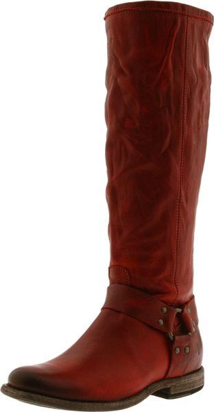 Frye Womens Phillip Harness Tall Boot in Brown (burnt red)