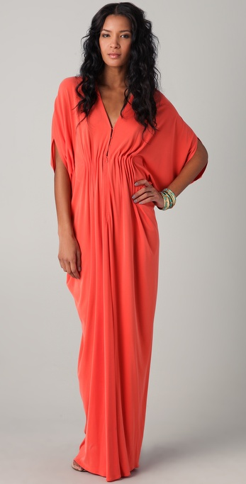 Lyst Issa Long Ruched Caftan Dress In Red