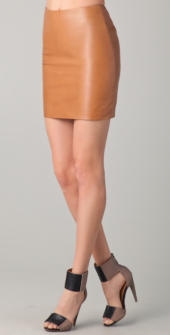 Kelly bergin Leather Mini Skirt in Brown | Lyst