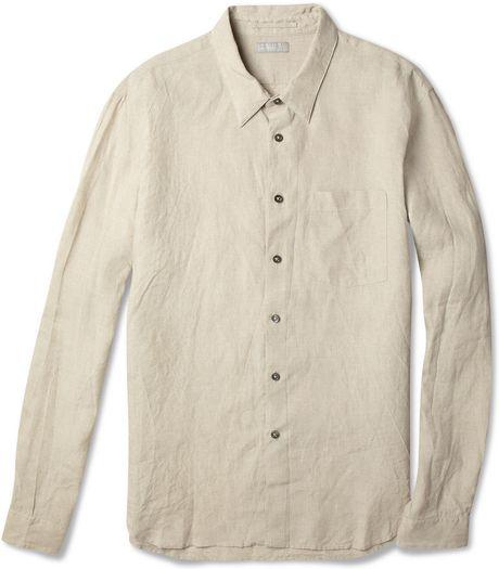 Margaret howell irish linen shirt in beige for men white for Irish linen dress shirts