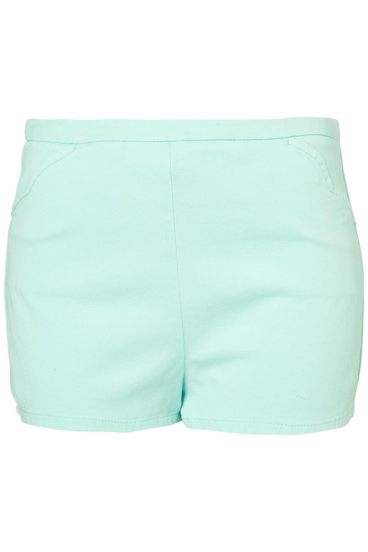 Topshop Mint High Waist Hotpants in Blue   Lyst