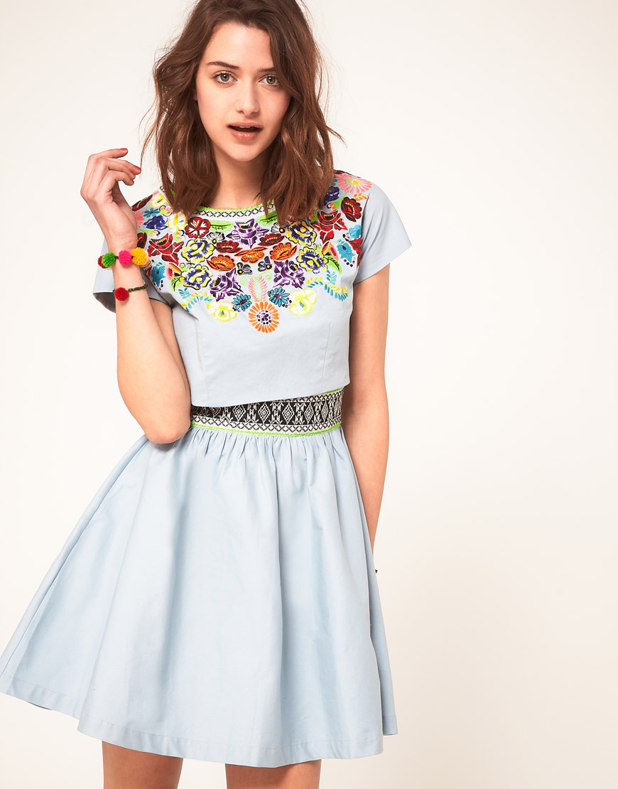 4267287610a ASOS Collection Asos Dress with Embroidered T-shirt in Blue - Lyst