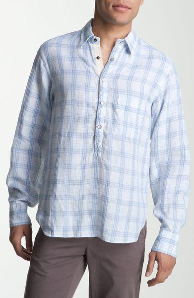 Billy Reid Popover Plaid Linen Shirt In Blue For Men Blue