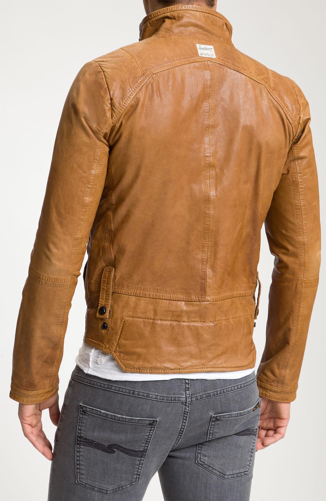 g star raw g star leather jacket in brown for men lyst. Black Bedroom Furniture Sets. Home Design Ideas