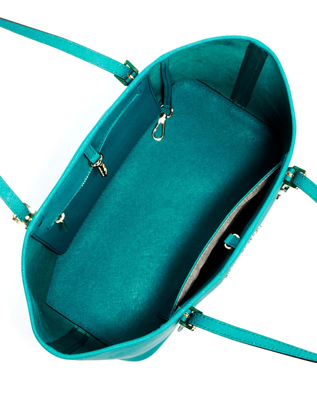de5bcfb8590a ... new arrivals lyst michael kors jet set travel small tote aqua in blue  f6004 f270c