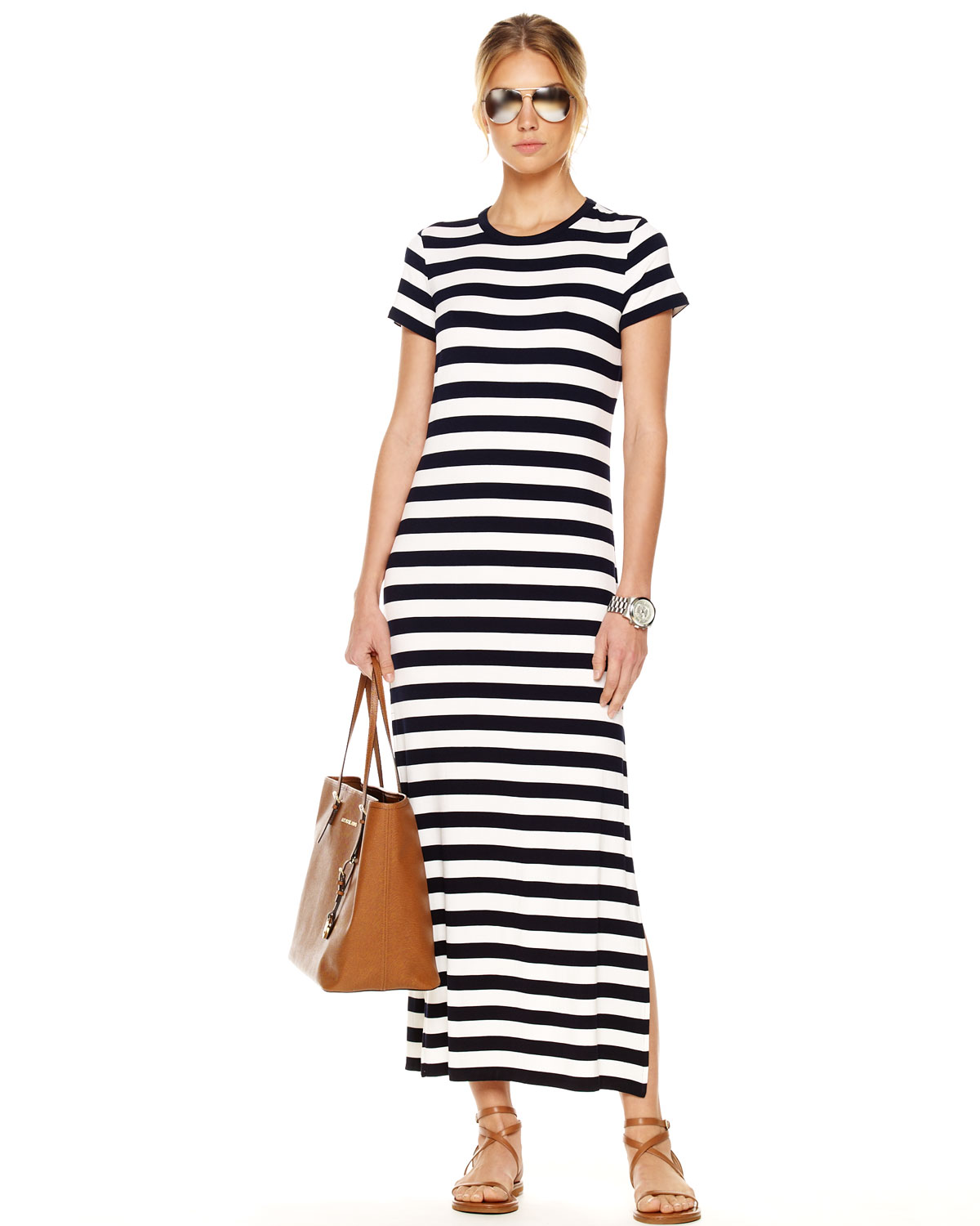 Michael kors Exclusive Striped Maxi Dress in Blue