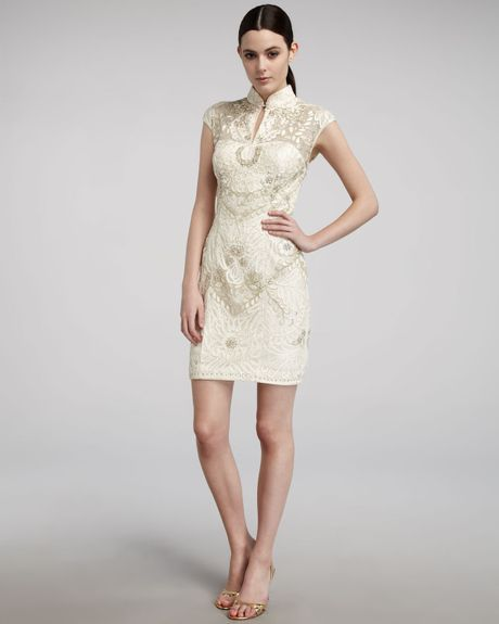 Sue Wong Mandarin-collar Cap-sleeve Dress in White (ivory)