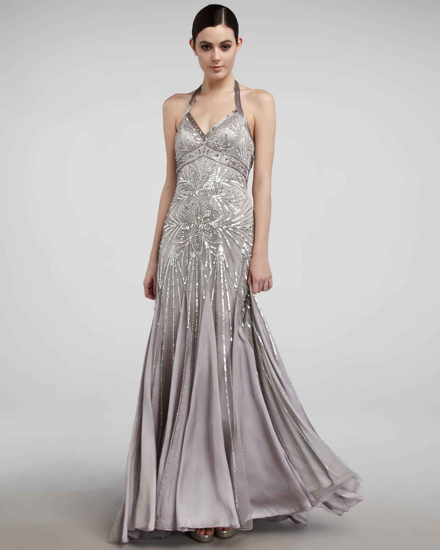 Sue wong Beaded Halter Gown in Metallic | Lyst