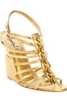 Yves Saint Laurent Wedge Sandal - Lyst