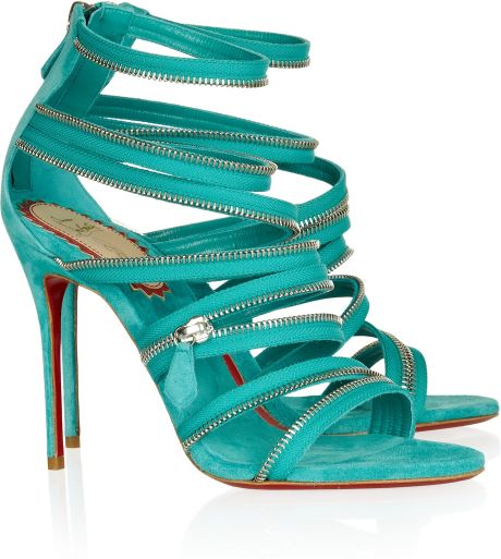 Christian Louboutin 20th Anniversary Unzip 100 Suede Sandals in Green (blue)