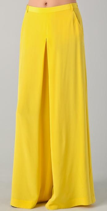 Tibi Wide Leg Pants in Yellow | Lyst