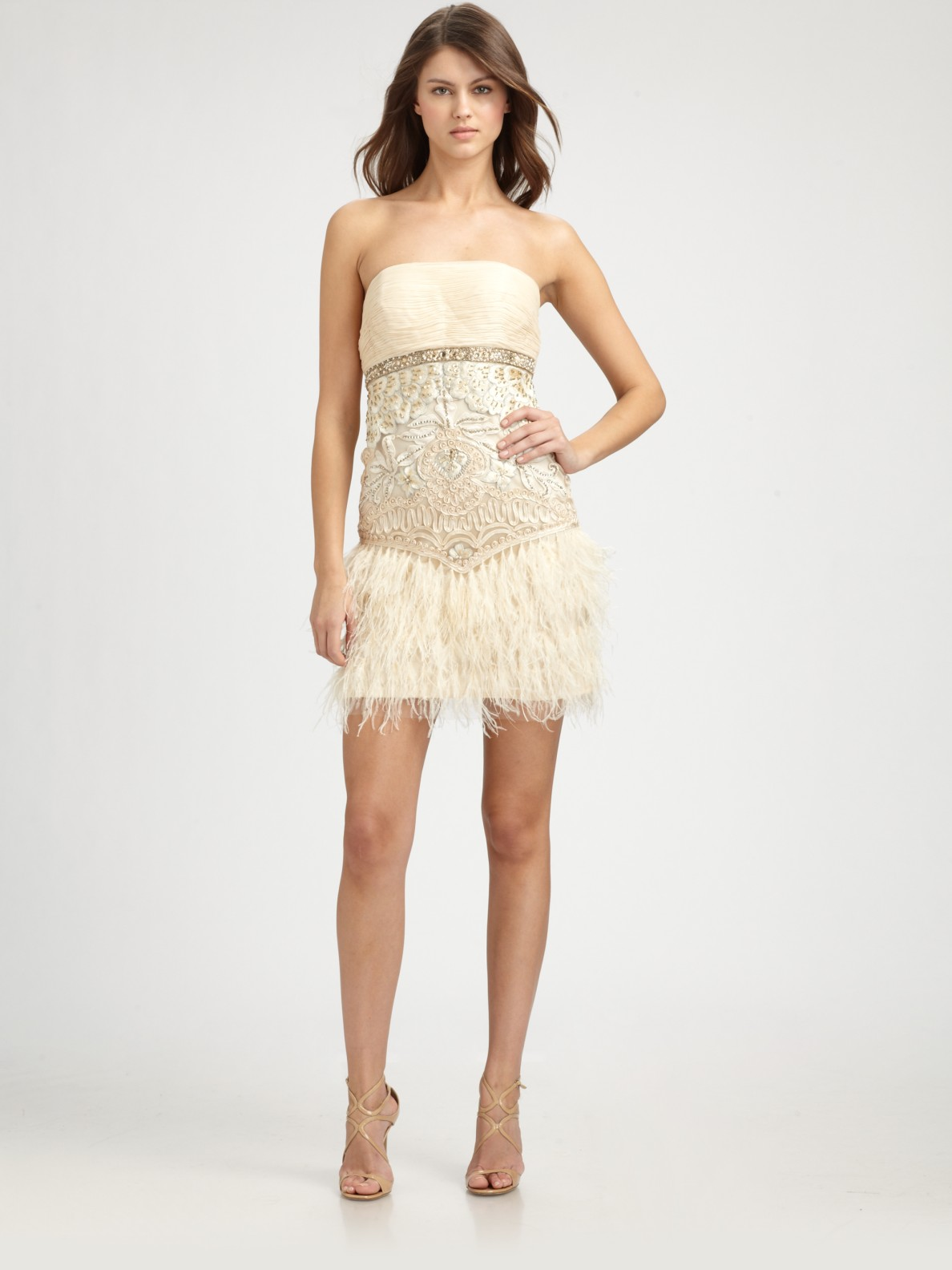Sue wong Strapless Feather-detail Dress in Metallic | Lyst