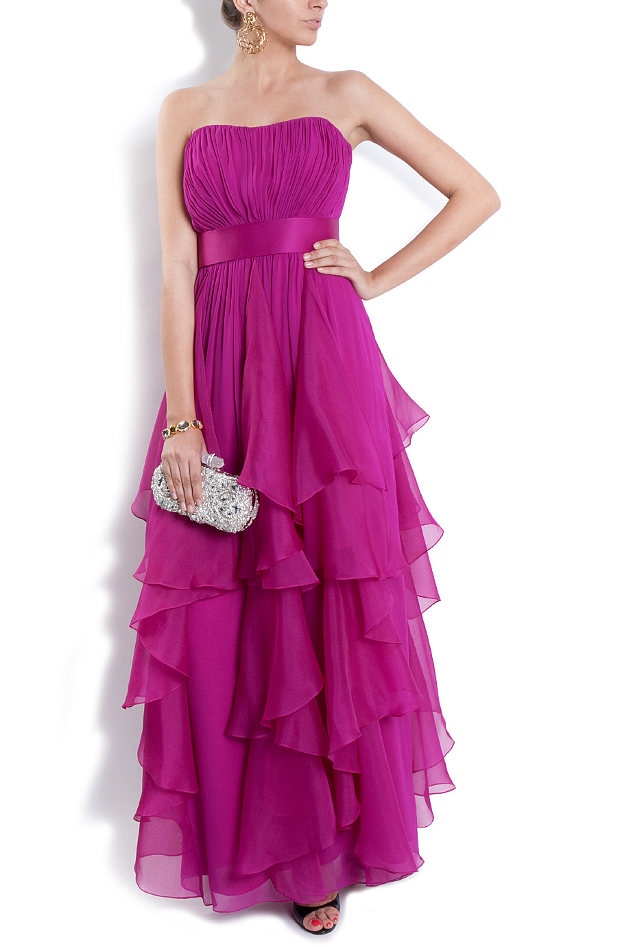 Notte by marchesa waterfall ruffle gown in purple notte for Waterfall design dress