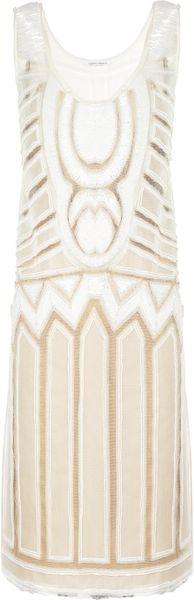Alberta Ferretti Beadembellished Tulle and Silk Dress in Beige (white)