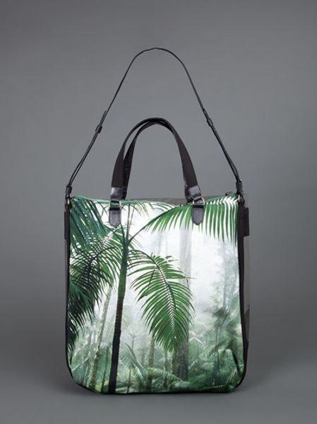 Dries Van Noten Palm Tree Print Tote Bag In Green Lyst