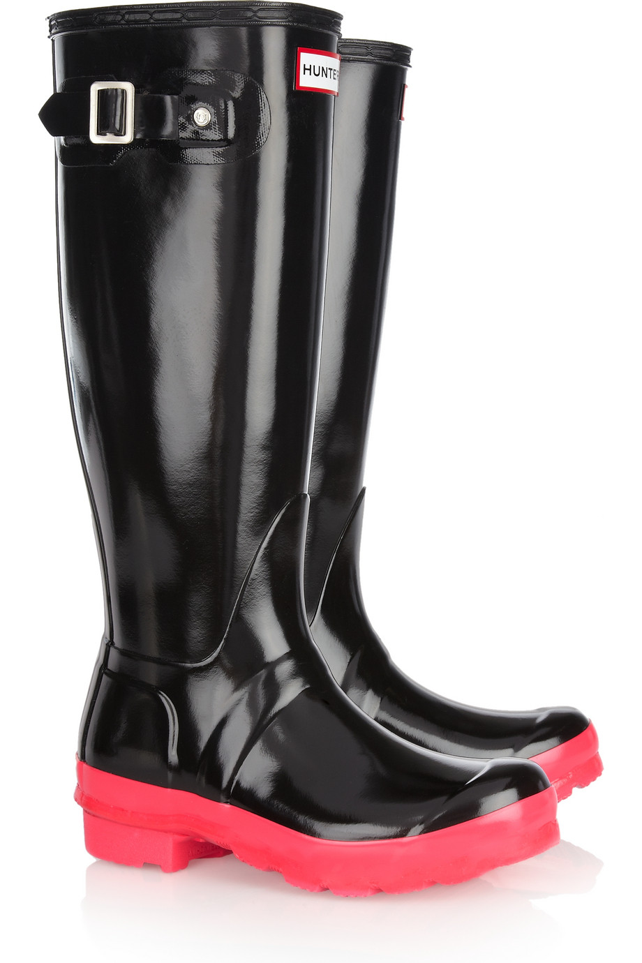 Hunter Original Tall Neonsoled Wellington Boots In Black