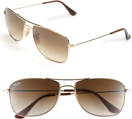 Ray Ban Square Frame Glasses : Ray-ban Square Aviator 56mm Sunglasses in Brown (gold ...