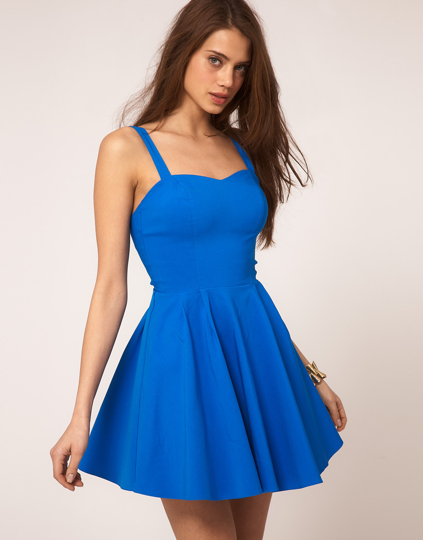 Asos collection Asos Skater Dress in Bengaline in Blue | Lyst