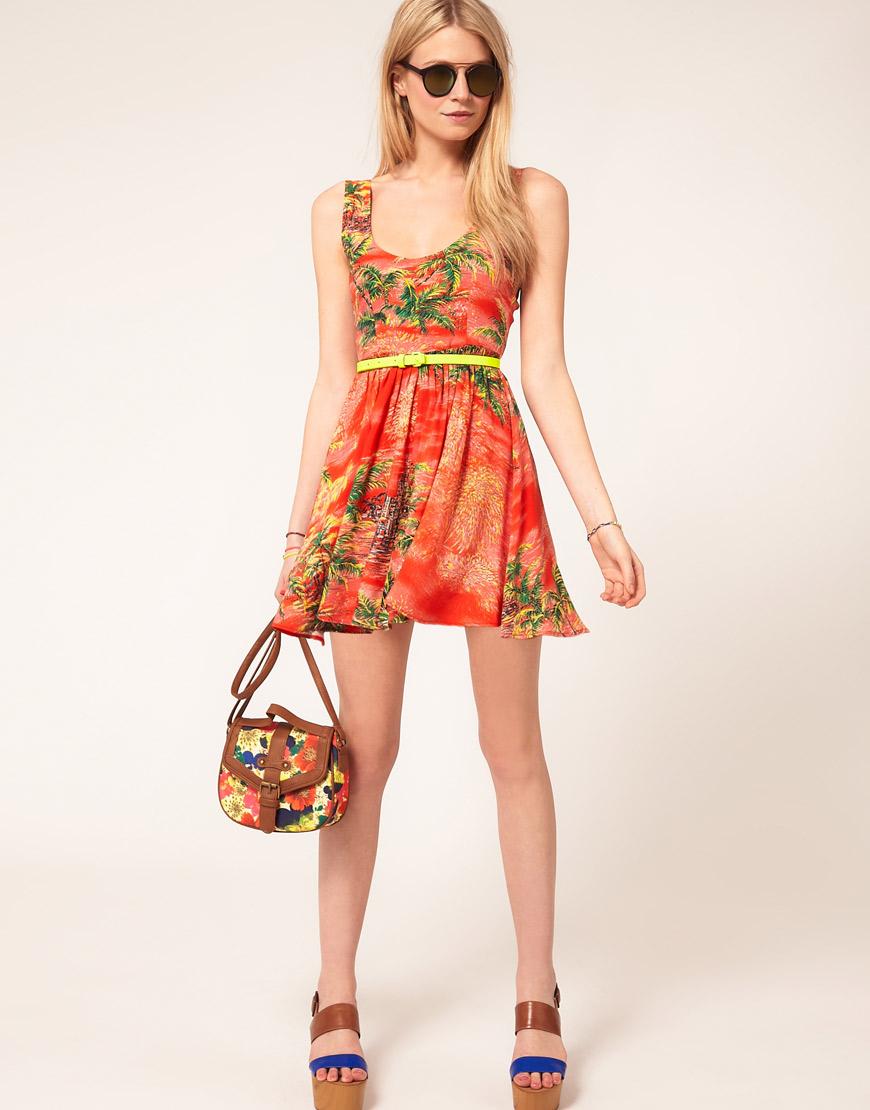 8bd0f97ce33 ASOS Collection Asos Petite Skater Dress in Hawaiian Print in Orange ...