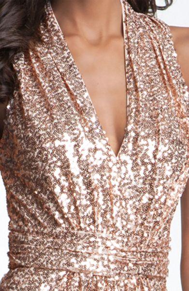gold badgley mischka sequin cowl back gown hot girls