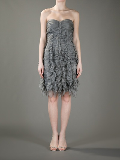 9fc35fb839a0 Burberry Prorsum Ruched Strapless Dress in Gray - Lyst