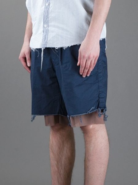 kolor-blue-double-layer-contrast-shorts-