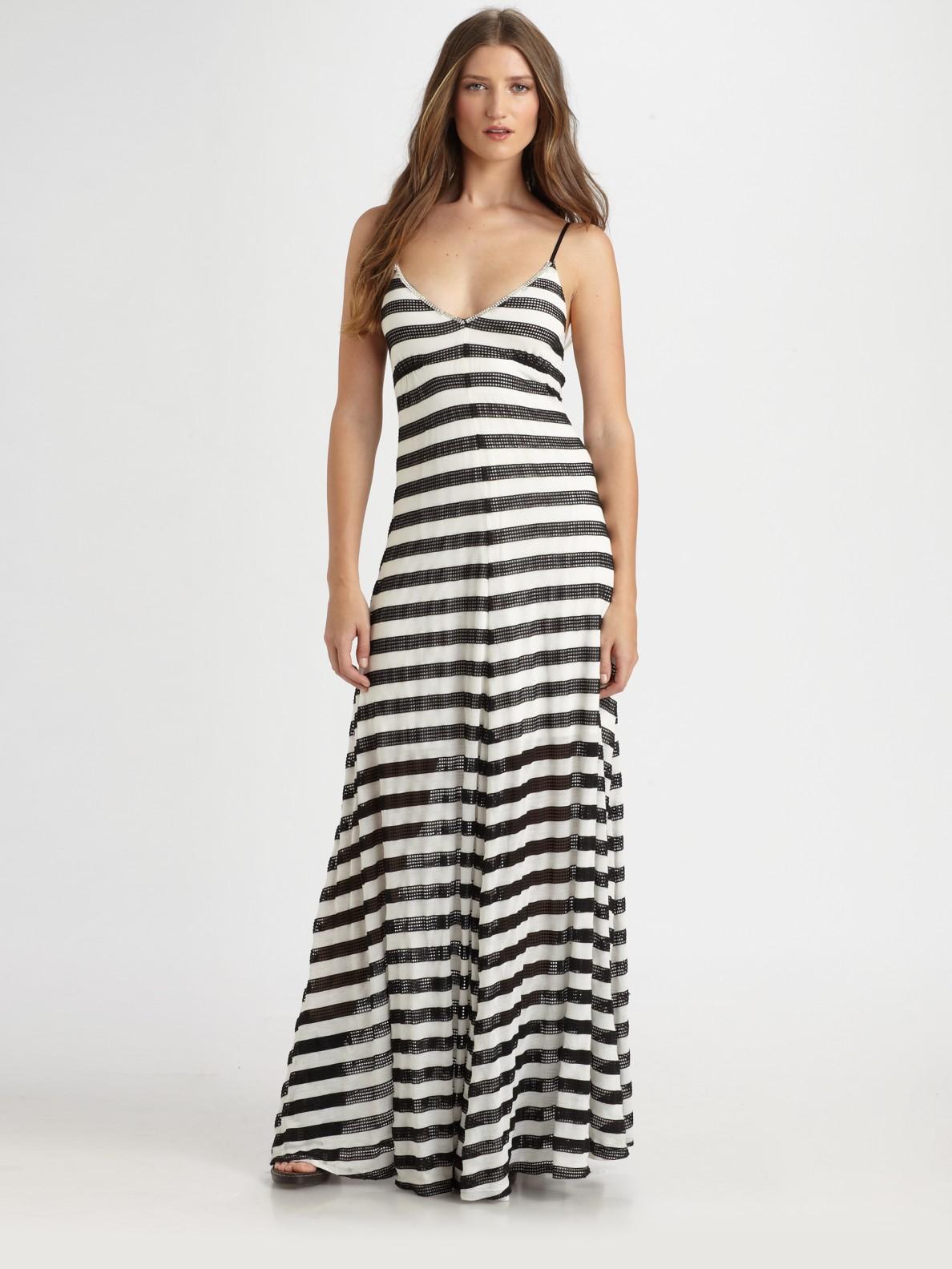 Lyst Royal Underground Mesh Striped Maxi Dress In Black