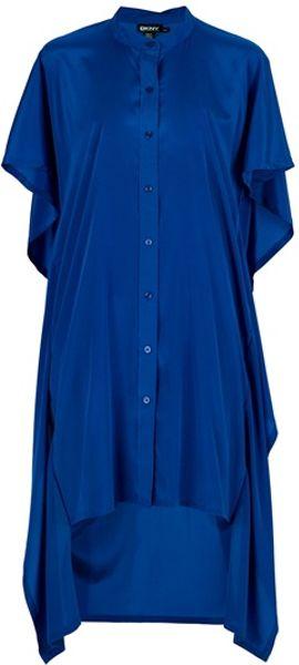 Dkny Oversize Silk Dress in Blue