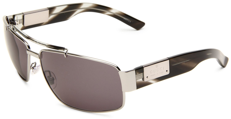Gucci Frames For Mens Glasses : Gucci Rectangular Sunglasses in Gray for Men (ruthenium ...