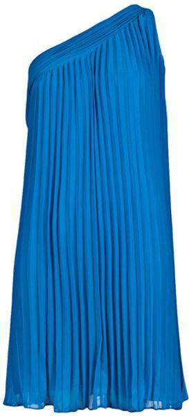 Halston Heritage One Shoulder Dress in Blue - Lyst